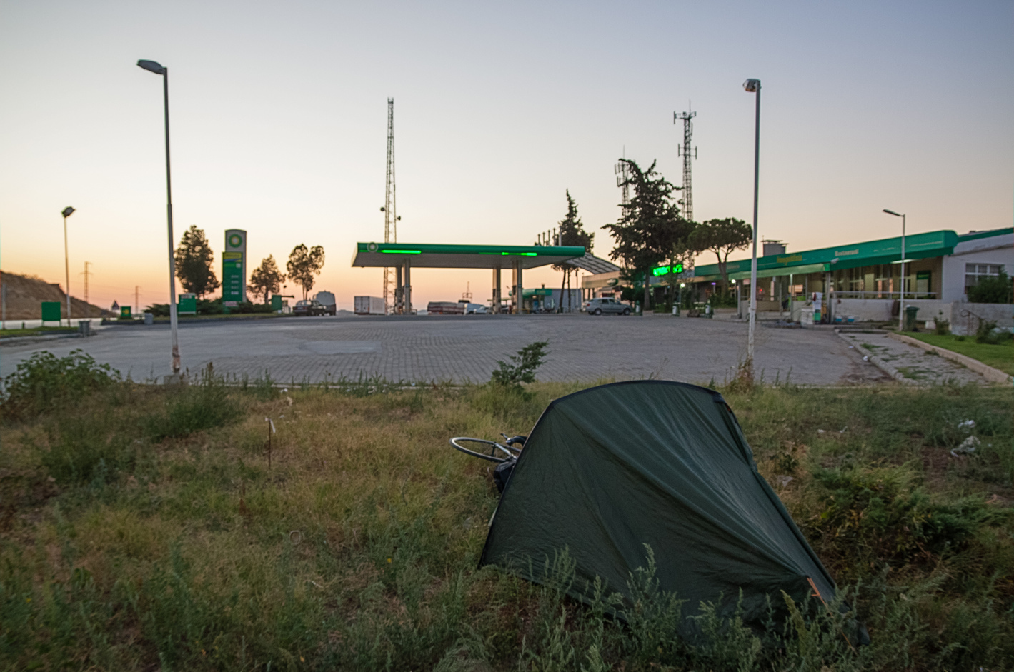 Petrol station camping in Turkey